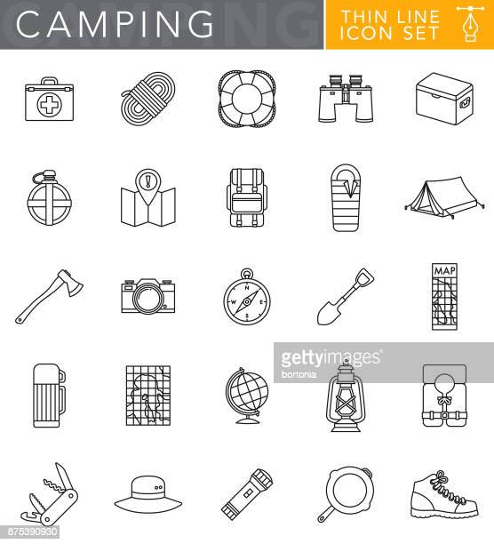 ilustraciones, imágenes clip art, dibujos animados e iconos de stock de camping delgada línea conjunto de iconos de estilo de diseño plano - largo longitud