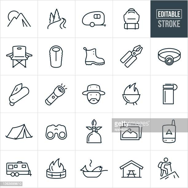 camping thin line icons - editable stroke - bench stock illustrations