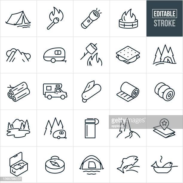 ilustrações, clipart, desenhos animados e ícones de camping thin line ícones - traço editável - exterior