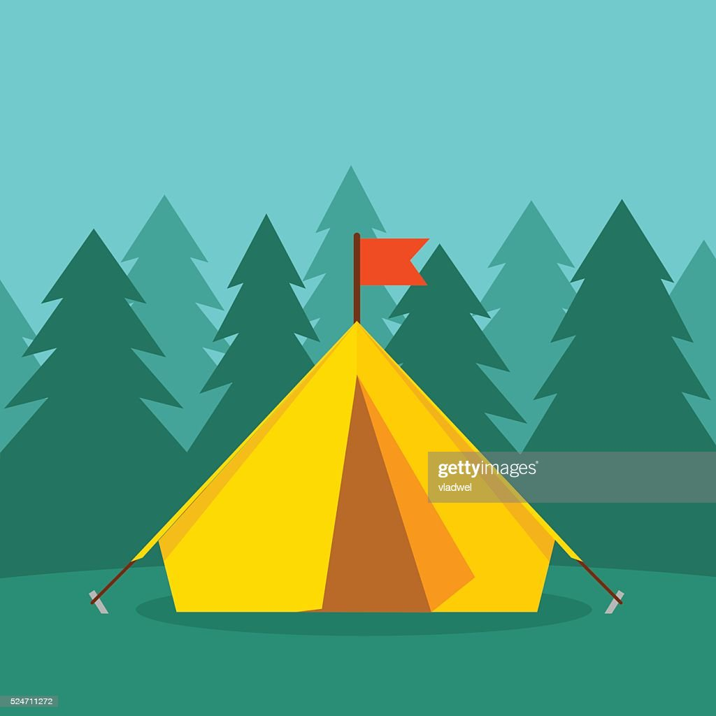 Camping tourist tent on forest landscape vector illustration