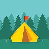 Camping tourist tent on forest landscape vector illustration