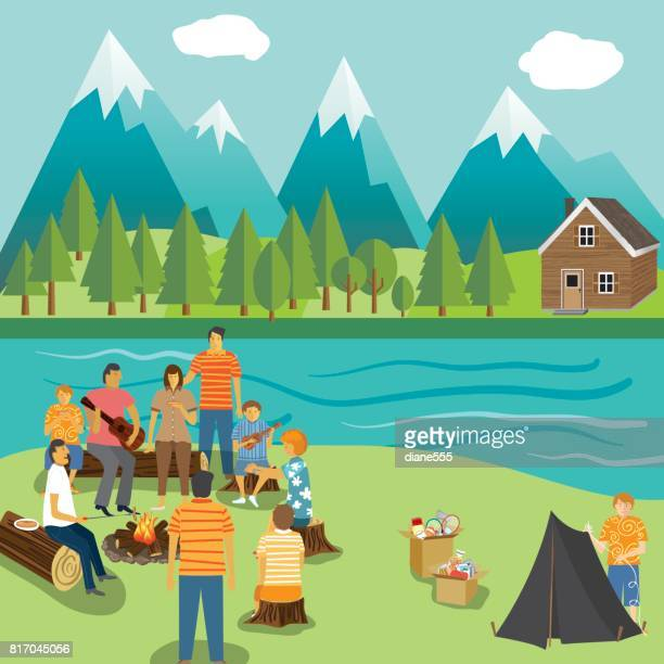 Camping vacation Backgrounds With Lots of Elements