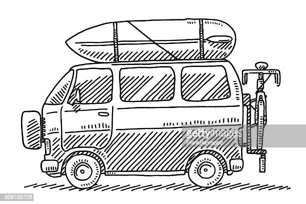 illustrations, cliparts, dessins animés et icônes de camping van vacances d'été de l'établissement - camping car