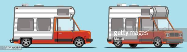 illustrations, cliparts, dessins animés et icônes de camping van avec vue latérale et vue 3/4 - camping car