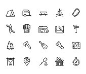 Camping vector icon set in thin line style
