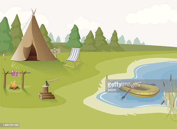 camping - teepee stock illustrations