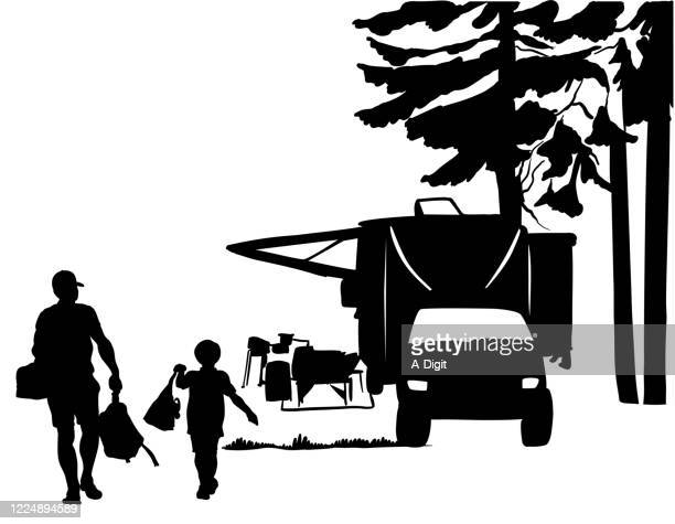 camping with dad silhouette - state park stock illustrations