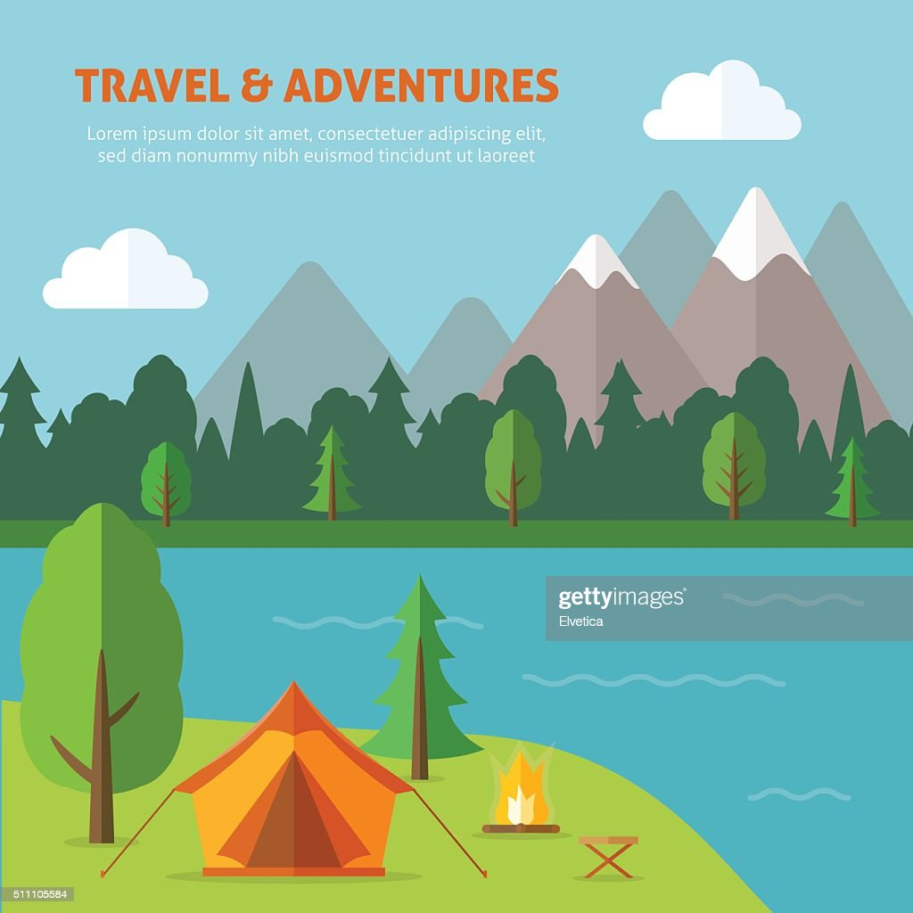 Camping with tend bonfire and nature landscape.