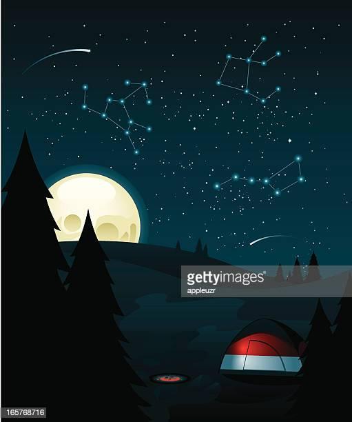 campsite - constellation stock illustrations