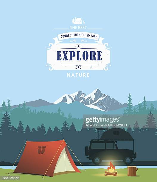 campsite - tent stock illustrations, clip art, cartoons, & icons