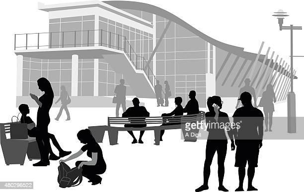 ilustrações de stock, clip art, desenhos animados e ícones de campus bancos - patio de colegio