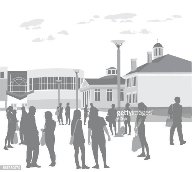 ilustrações de stock, clip art, desenhos animados e ícones de campus grounds - patio de colegio