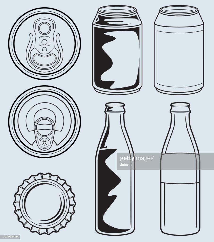 Lata e garrafa de Envases : Ilustração