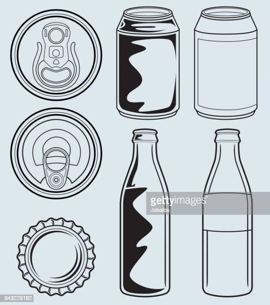can and glass bottle containers - juice drink stock illustrations, clip art, cartoons, & icons