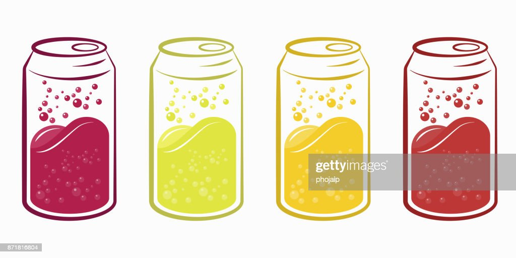 Can of sparkling juices, Juicy soft drink can vector set.