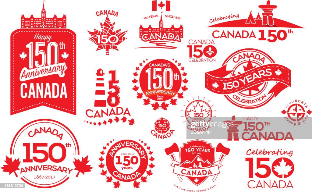 Canada 150 year anniversary label designs