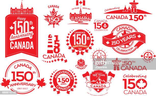 canada 150 year anniversary label designs - canada stock illustrations