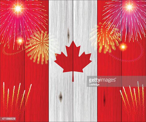 canada day background[fireworks and canada flag] - canada day stock illustrations