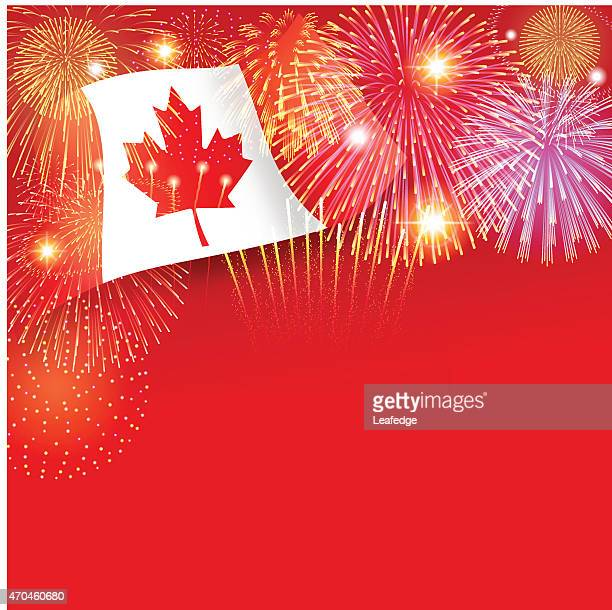 canada day background[flag and fireworks] - canada day stock illustrations