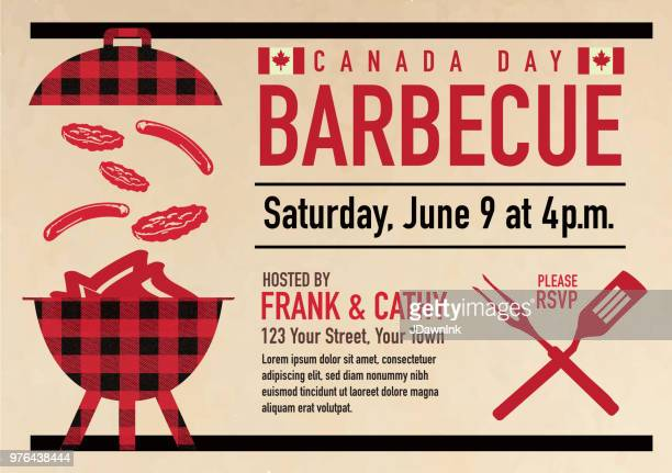 canada day barbecue party celebration design template - canada day stock illustrations