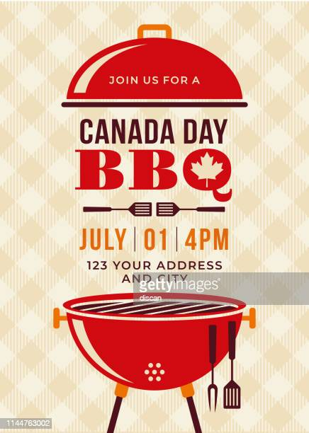 canada day bbq party invitation. - canada day stock illustrations