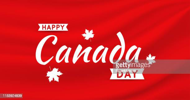 canada day card on red satin silk background. vector illustration. - canadian flag stock illustrations