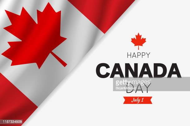 canada day card with canadian flag. vector illustration. - canada day stock illustrations