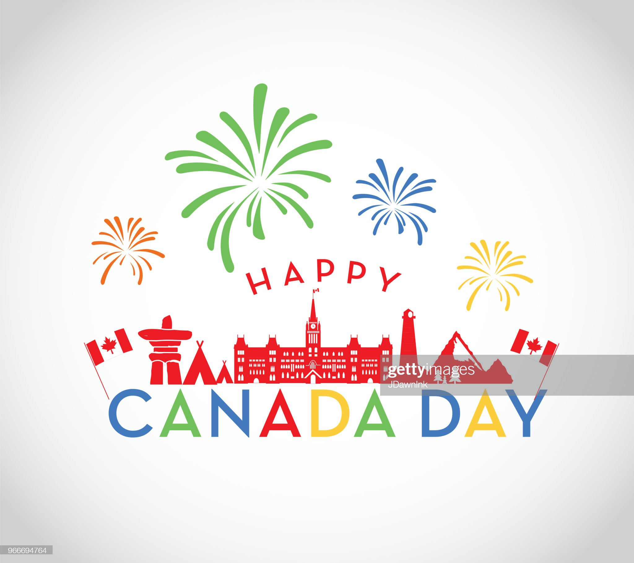 Canada Day celebration emblem design template : Stock Illustration