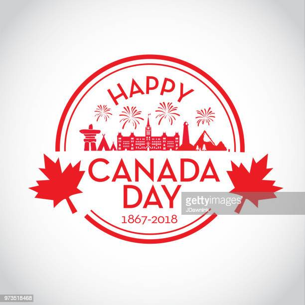 canada day celebration emblem design template - canada day stock illustrations