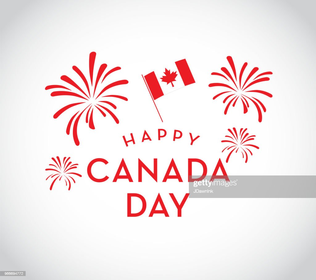 canada day celebration fireworks emblem design template vector art