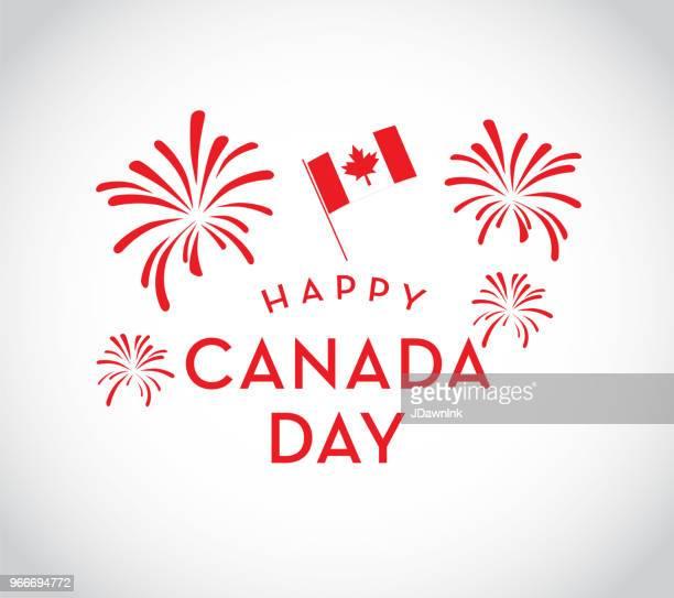 canada day celebration fireworks emblem design template - national holiday stock illustrations, clip art, cartoons, & icons