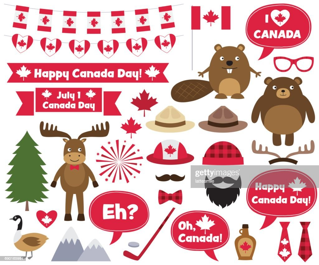 Canada Day design elements and photo booth props