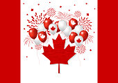 Canada day design of flag and balloon with firework vector illustration