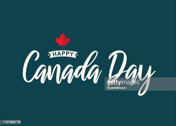 canada day lettering with maple leaf. vector illustration. - canada day stock illustrations