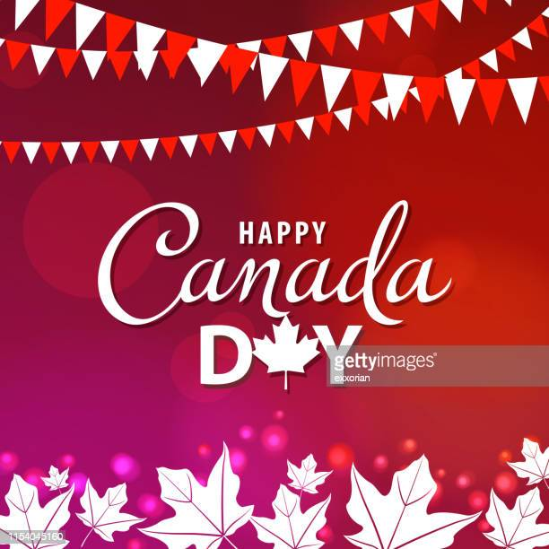 canada day maple leaves - canada day stock illustrations