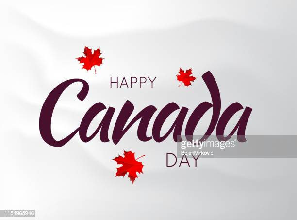 canada day poster on wavy background with maple leaf. vector illustration - canada day stock illustrations