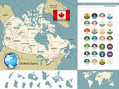 Canada Detailed Map and Flat Icons. Retro colors