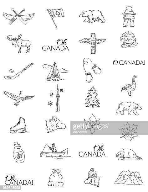 canada doodle drawings - totem pole stock illustrations