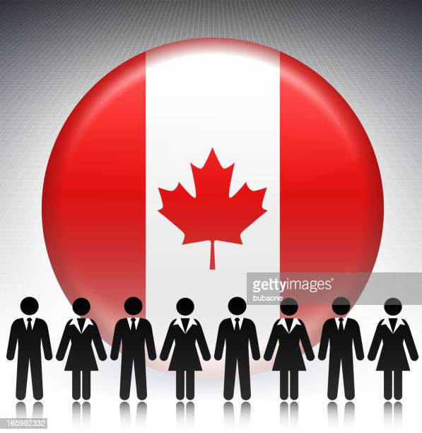 Canada Flag Button with Business Concept Stick Figures