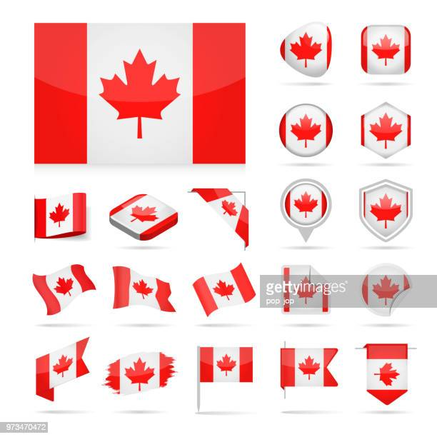 canada - flag icon glossy vector set - canadian flag stock illustrations