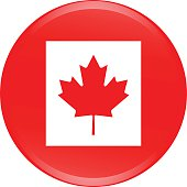 Canada flag icon vector outline illustration in 3D background