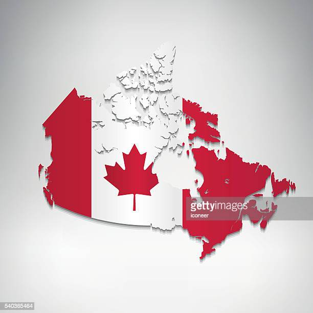 Canada flag map on grey clean background