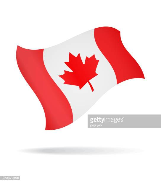 canada - flying flag vector glossy icon - canadian flag stock illustrations