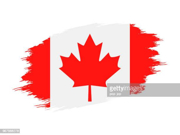 canada - grunge flag vector flat icon - canadian flag stock illustrations, clip art, cartoons, & icons