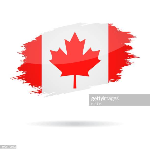canada - grunge flag vector glossy icon - canadian flag stock illustrations