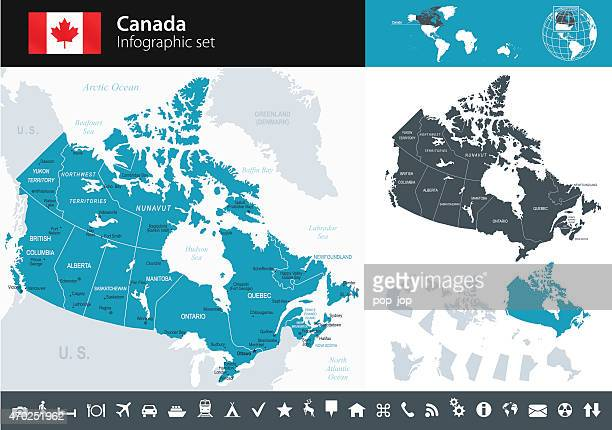 canada - infographic map - illustration - capital cities stock illustrations