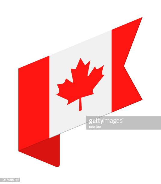 canada - isometric label flag vector flat icon - canadian flag stock illustrations, clip art, cartoons, & icons