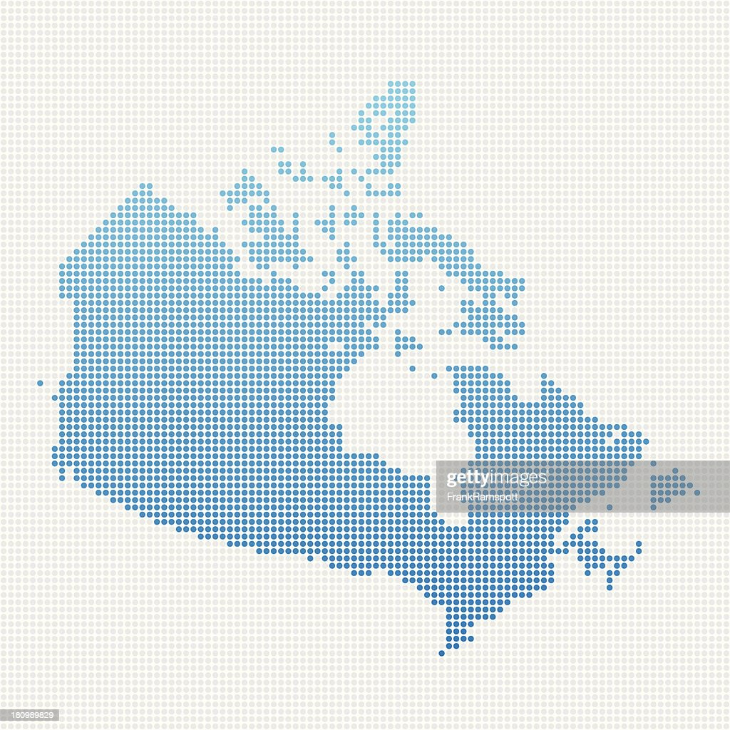 Canada Map Blue Dot Pattern