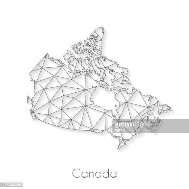 illustrazioni stock, clip art, cartoni animati e icone di tendenza di connessione mappa canada - mesh di rete su sfondo bianco - canada