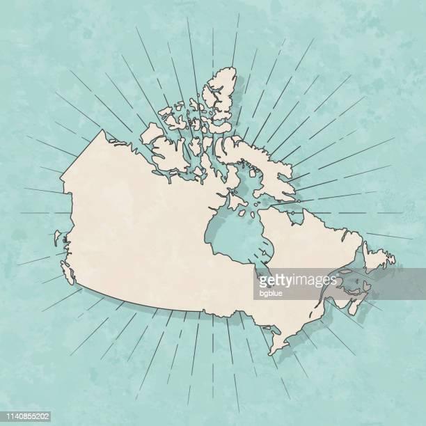 illustrazioni stock, clip art, cartoni animati e icone di tendenza di mappa canada in stile vintage retrò - vecchia carta strutturata - canada